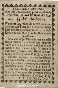 Communieprentje GW Sassen 1830