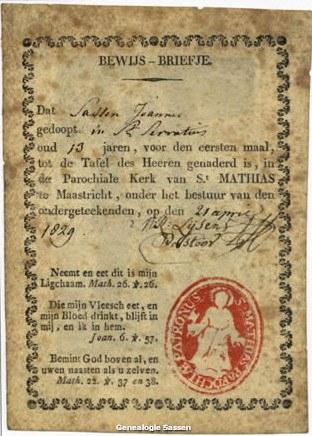 Communieprentje Joannes Sassen 1829