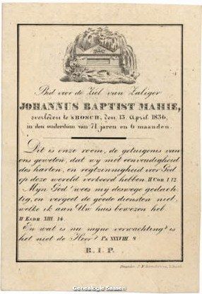 bidprentje van Johannus Baptist Mahie (tekst)