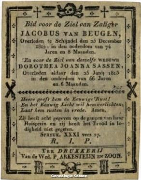 bidprentje van Jacobus van Beugen en Theodora Joanna Sassen (tekst)