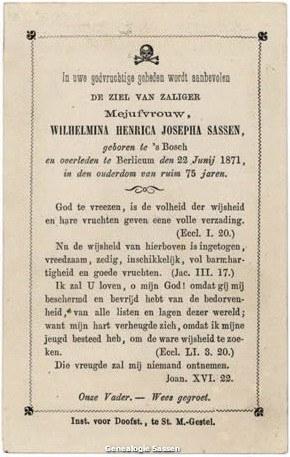 Wilhelmina Henrica Josepha Sassen (tekst)