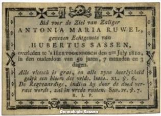 bidprentje Antonia Maria Ruwel (tekst)