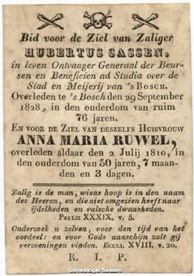 bidprentje Hubertus Sassen (tekst)
