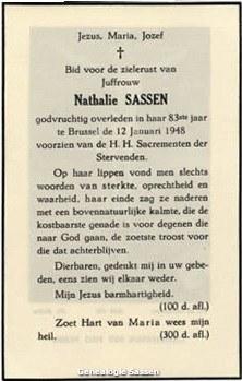bidprentje Nathalie Thérèse Marie Sassen (tekst)