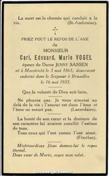 bidprentje Karel Eduard Marie Vogel (tekst)