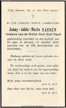 bidprentje Jenny Adèle Marie Sassen (tekst)