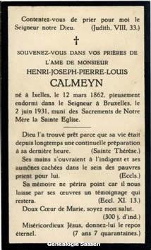 bidprentje Henri Joseph Pierre Louis Calmeyn (tekst - Frans 1)