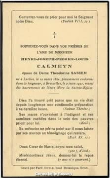 bidprentje Henri Joseph Pierre Louis Calmeyn (tekst - Frans 2)