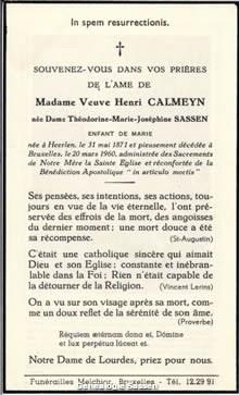 bidprentje Theodorina Maria Jozefina Sassen (tekst)