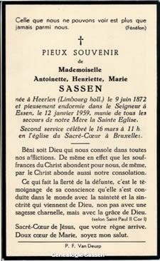 bidprentje Antoinette Henriette Marie Sassen (tekst - Frans)