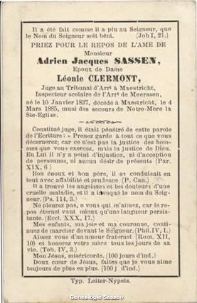 bidprentje Mr. Adriaan Jakob Sassen (tekst)