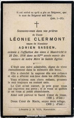 bidprentje Léonie Jeanne Antoinette Clermont (tekst - Frans)