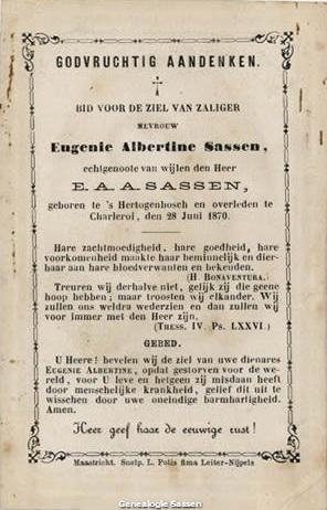 bidprentje  Eugenia Albertina Joanna Sassen - tekst Nederlands