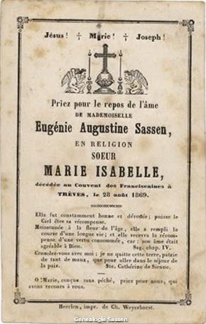 bidprentje Eugenie Augustine Sassen (tekst)
