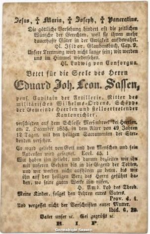 bidprentje Eduardus Joannes Leonardus Sassen (tekst - Duits)