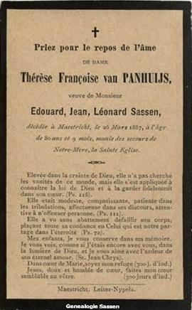 bidprentje Jonkvrouwe Thérèse Françoise van Panhuys (tekst)