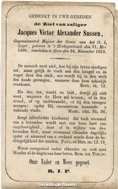 bidprentje Jacobus Victor Alexander Sassen (tekst)