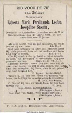 bidprentje Egberta Maria Ferdinanda Louisa Josephine Sassen (tekst)
