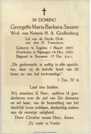 bidprentje Georgette Maria Barbara Sassen (tekst)