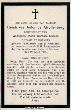 bidprentje Hendricus Antonius Grollenberg (tekst)