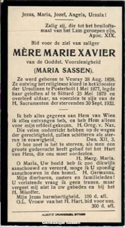 bidprentje Maria Eugenia Petronella Sassen (tekst)