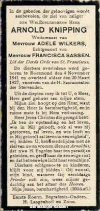 bidprentje Hubertus Andreas Arnoldus Knipping (tekst)