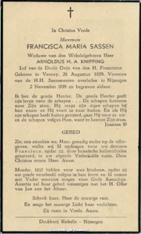 bidprentje Francisca Maria Sassen (tekst)