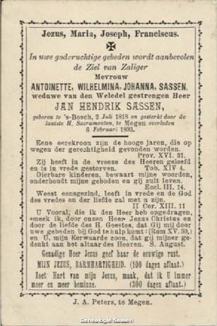 bidprentje Antoinetta Wilhelmina Johanna Sassen (tekst)