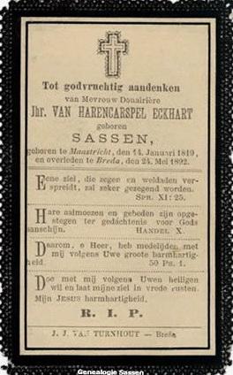 bidprentje Wilhelmina Georgia Francisca Sassen (tekst)