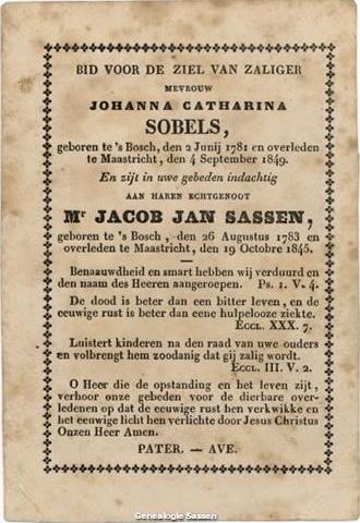 bidprentje Johanna Catharina Sobels (tekst)