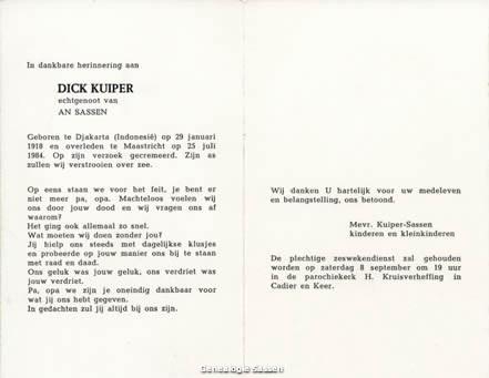 bidprentje Dirk Albertus Kuiper (tekst)