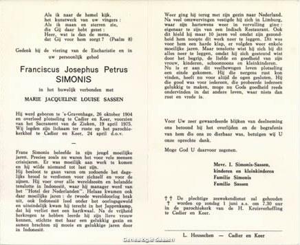 bidprentje Franciscus Josephus Petrus Simonis (tekst)
