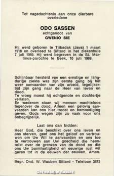 bidprentje Odo Sassen (tekst)