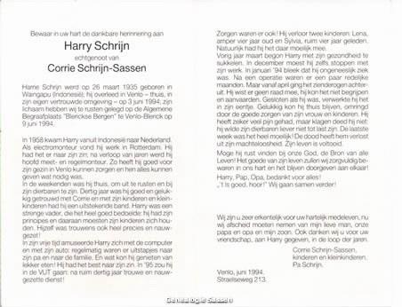 bidprentje Henri Leendert Schrijn (tekst)