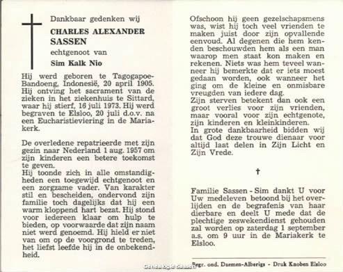 bidprentje Charles Alexander Sassen (tekst)
