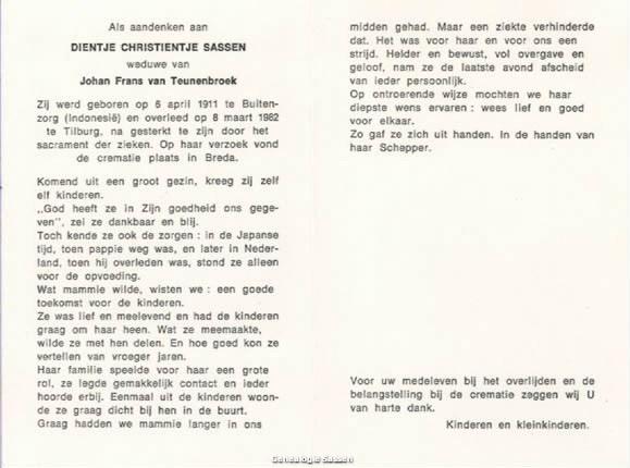 bidprentje Dientje Christientje Sassen (tekst)