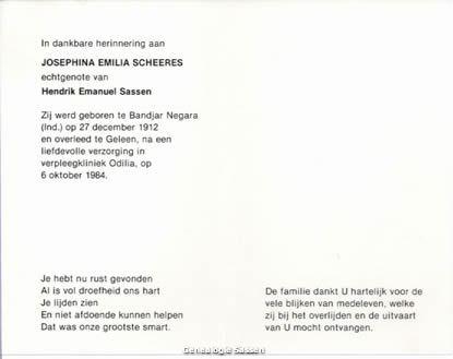 bidprentje Jozefina Emilia Scheeres (tekst)