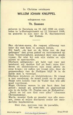 bidprentje Willem Johan Knuppel (tekst)