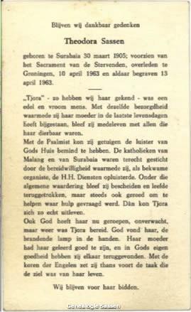 bidprentje Theodora Sassen (tekst)