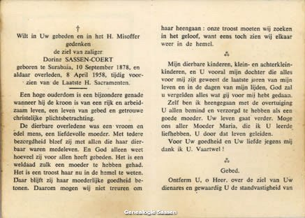 bidprentje Dorien Coert (tekst)