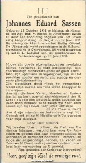 bidprentje Johannes Eduard Sassen (tekst)