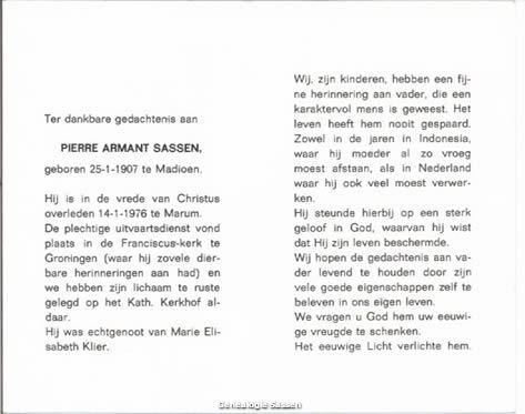 bidprentje Pierre Armand Sassen (tekst)