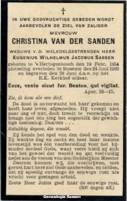 bidprentje Christina Petronella Johanna van der Sanden (tekst)