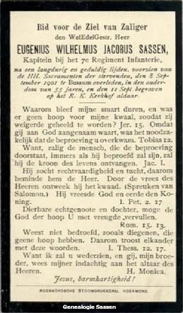bidprentje Eugenius Wilhelmus Jacobus Sassen (tekst)