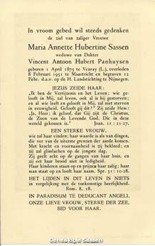 bidprentje Marie Annette Hubertine Sassen