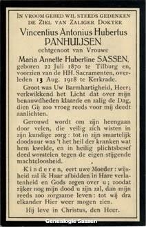 bidprentje Vincentius Antonius Hubertus Panhuysen (tekst)