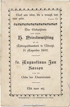 H. Priesterwijding Dr. Jan Hendrik Hubert Sassen O.P. (tekst)