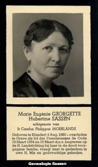 bidprentje Marie Eugénie Georgette Hubertine Sassen (afbeelding)