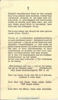 bidprentje Marie Eugénie Georgette Hubertine Sassen (tekst)