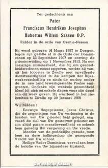 bidprentje Hendrikus Josephus Hubertus Willem Sassen O.P. (tekst)